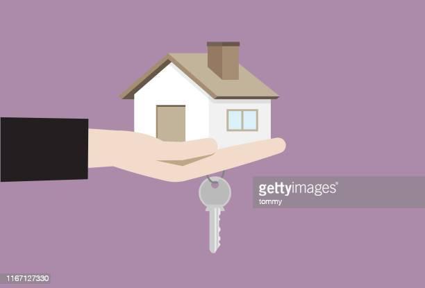 手持ちハウスとハウスキー - 賃貸借点のイラスト素材/クリップアート素材/マンガ素材/アイコン素材