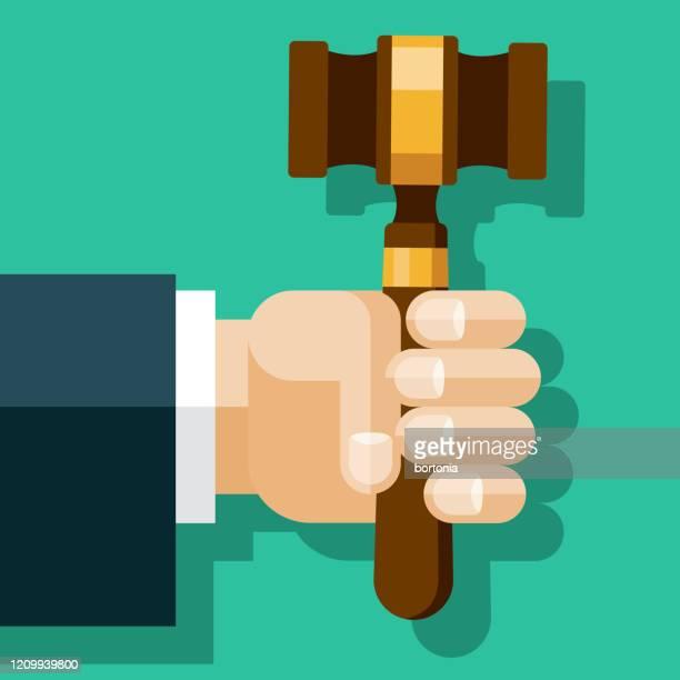 ハンド・ホールディング・ジャッジのガヴェル - 刑事司法点のイラスト素材/クリップアート素材/マンガ素材/アイコン素材