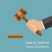 Hand holding judges gavel.