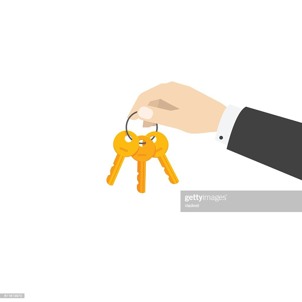 Hand holding keys chain vector illustration isolated on white background