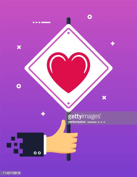 hand holding lgbt community banner sign - wrong way stock illustrations, clip art, cartoons, & icons