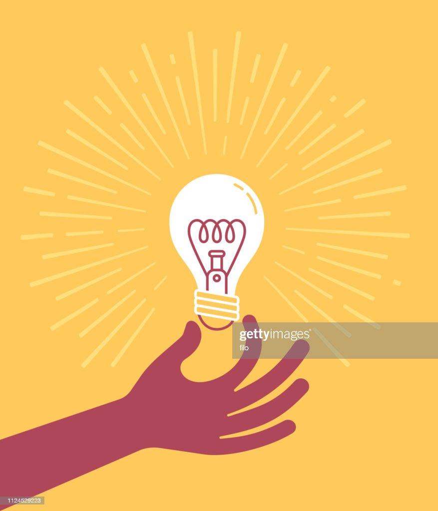 Hand mit Glühbirne : Stock-Illustration
