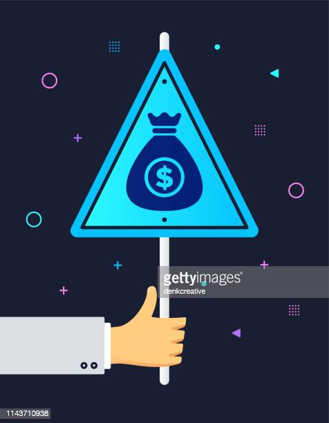 hand holding loan & credit banner sign - wrong way stock illustrations, clip art, cartoons, & icons