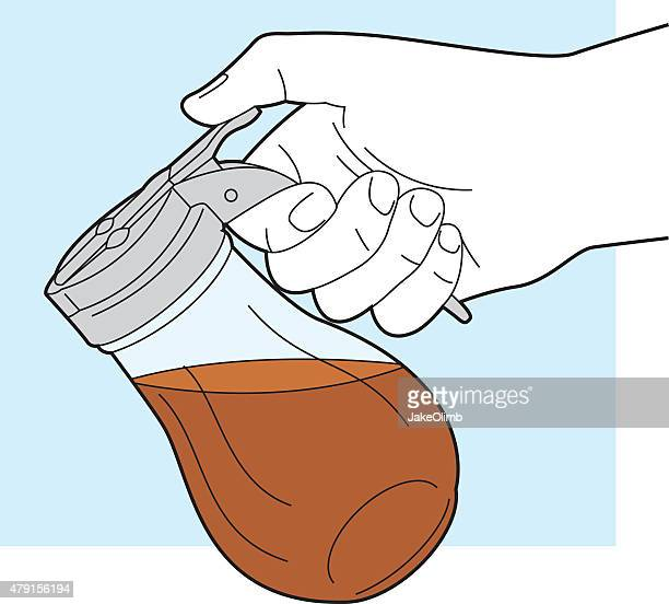 hand holding maple syrup container line art - maple syrup stock illustrations