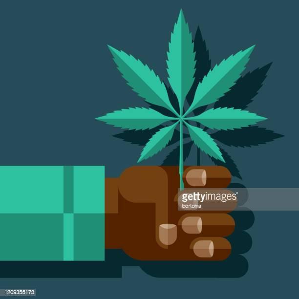 hand holding marijuana leaf - marijuana leaf stock illustrations