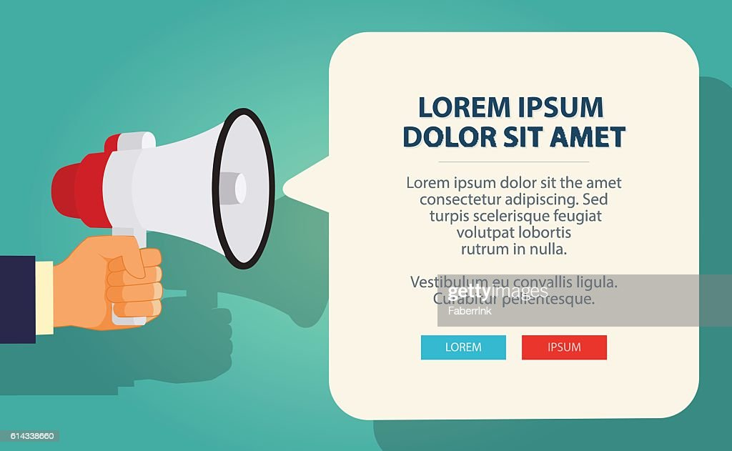 Hand holding megaphone with bubble speech. Vector Illustration