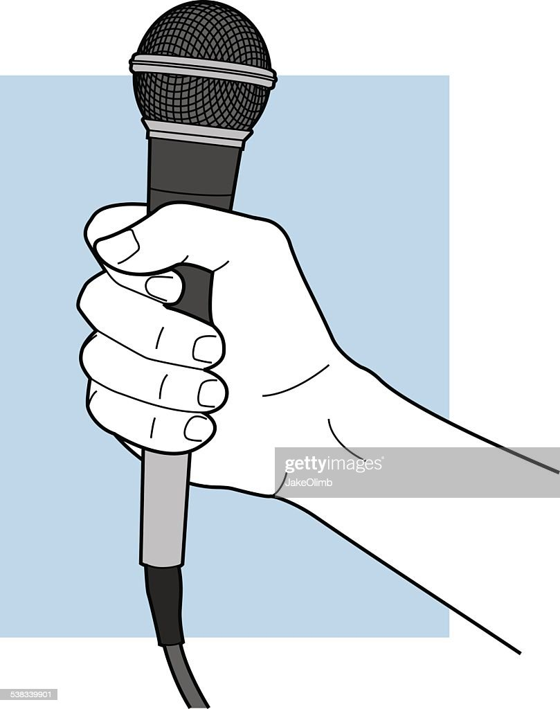 Hand Holding Microphone Line Art