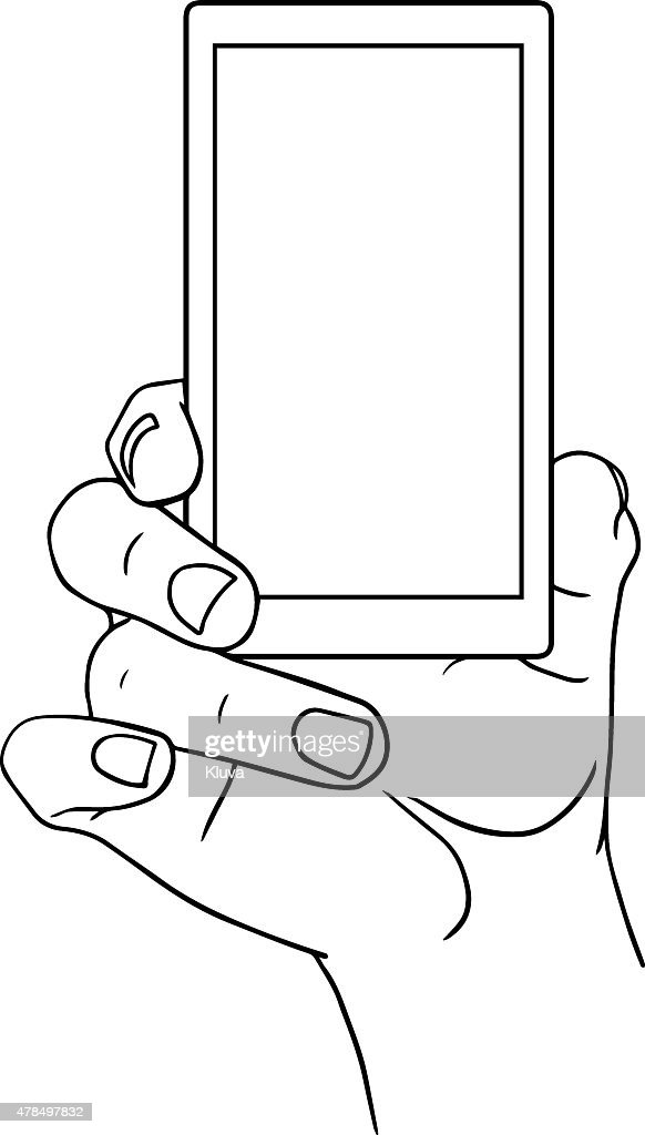 Hand Holding Mobile, front view. Vector illustration