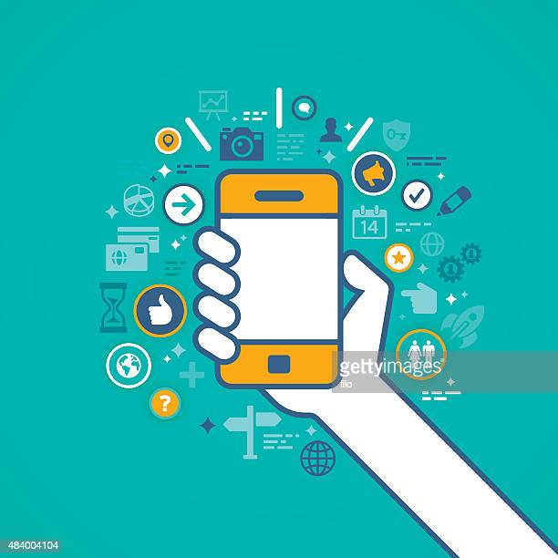 hand holding mobile phone with apps - holding stock illustrations, clip art, cartoons, & icons