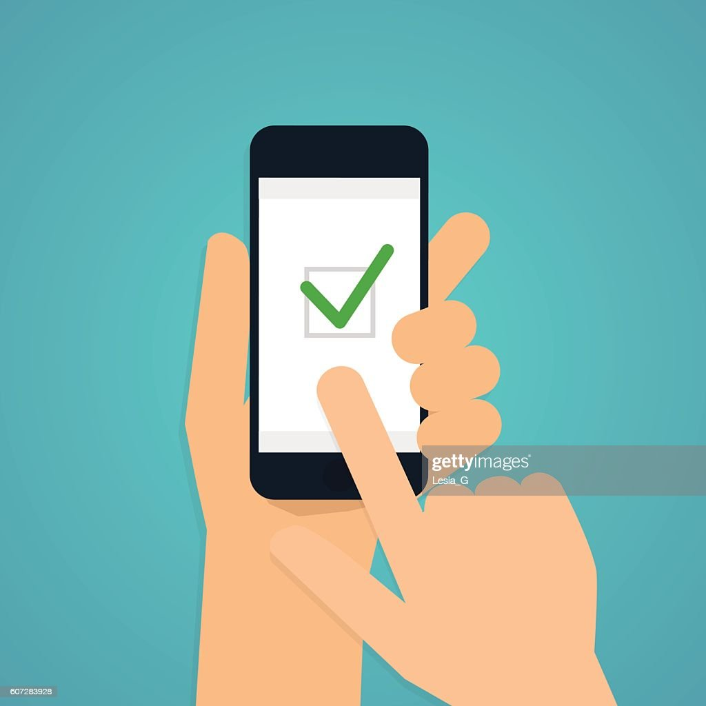 Hand holding mobile smart phone with check app. Vector modern