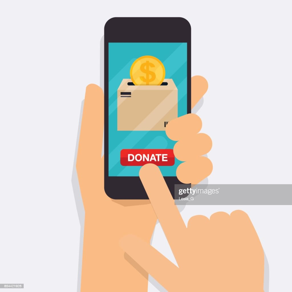 Hand holding mobile smart phone with donation money. Concept for charity online service.  Flat vector illustration.