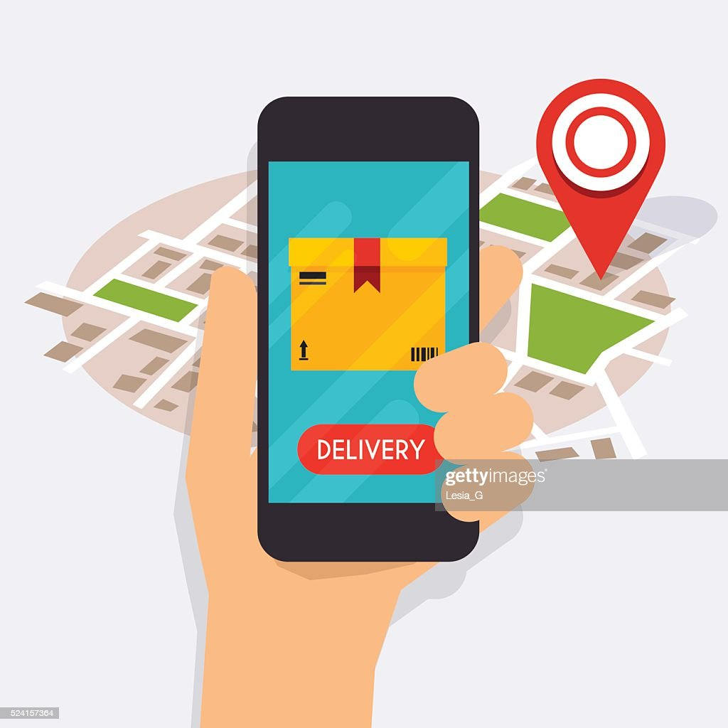 Hand holding mobile smart phone with mobile app delivery trackin