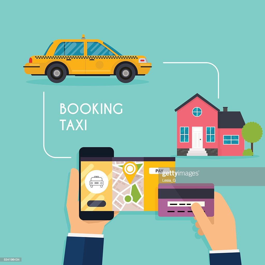 Hand holding mobile smart phone with mobile app search taxi.