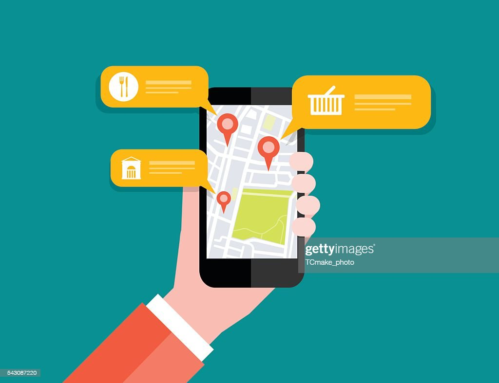 Hand holding mobile with map location navigation.mobile GPS