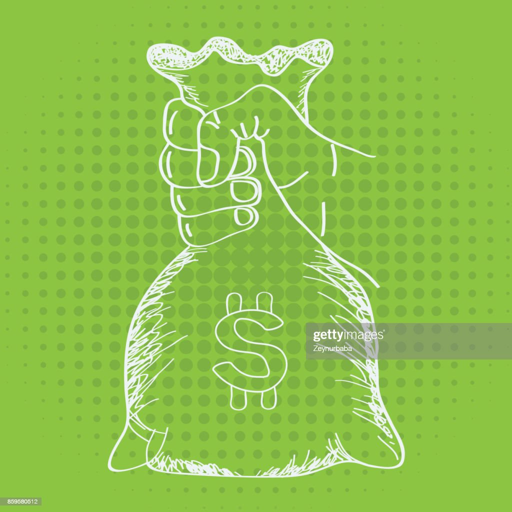 Hand holding money bag vector with line art sketch style.