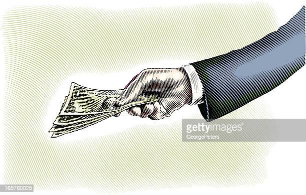 hand holding money - american one dollar bill stock illustrations, clip art, cartoons, & icons