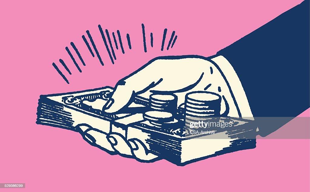 Hand Holding Money : Vector Art