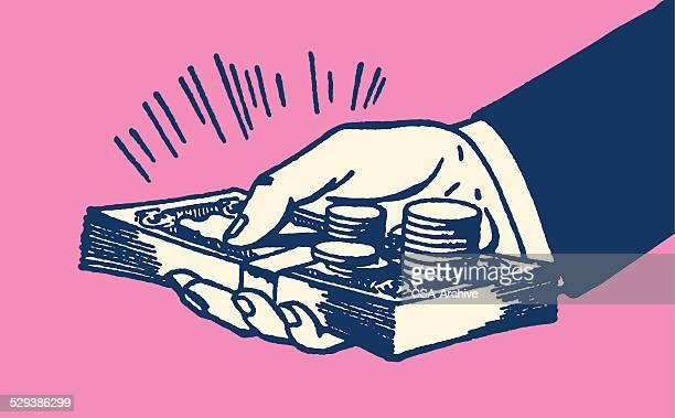 hand holding money - incentive stock illustrations, clip art, cartoons, & icons