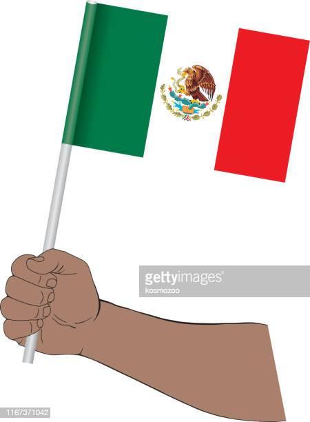 ilustraciones, imágenes clip art, dibujos animados e iconos de stock de mano sosteniendo la bandera nacional de méxico - bandera de méxico