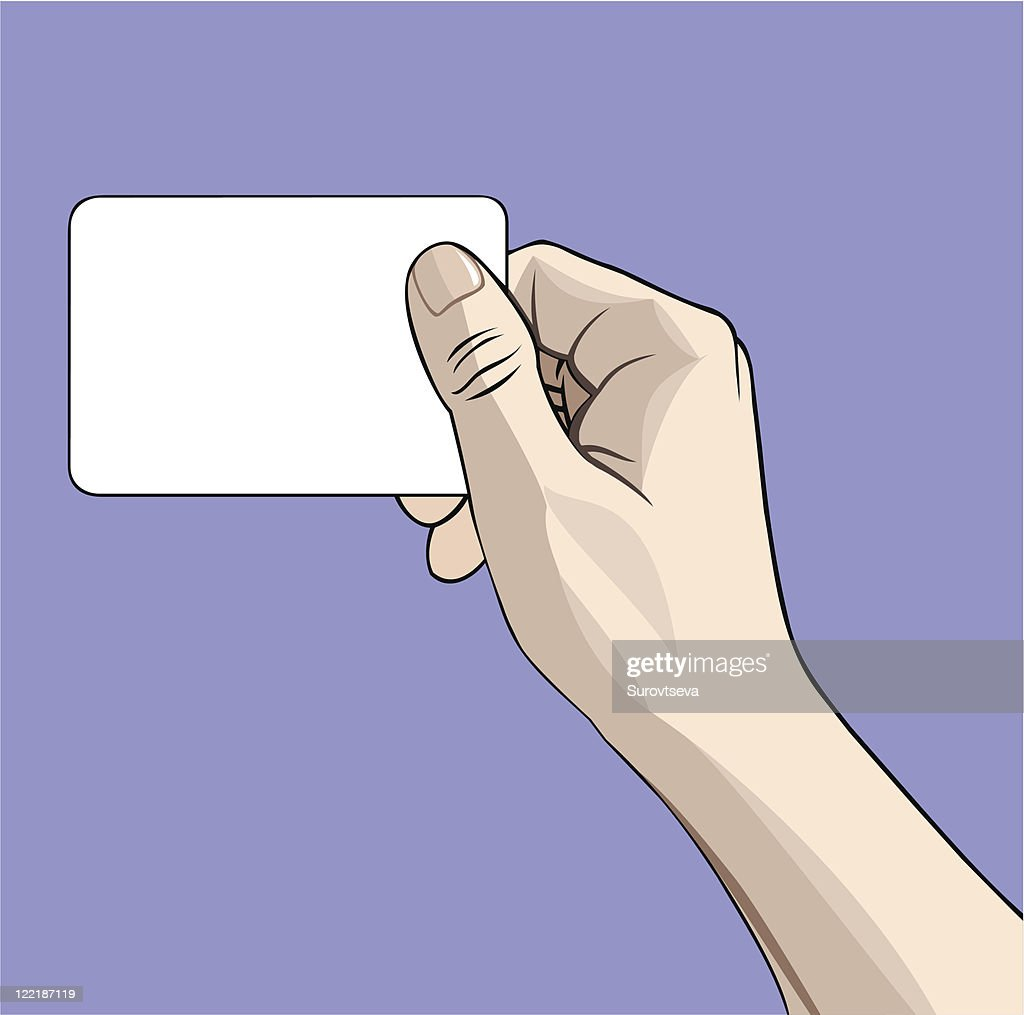 A hand holding out a blank business card