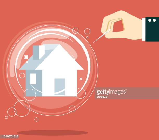 hand holding pin to house bubble - housing development stock illustrations