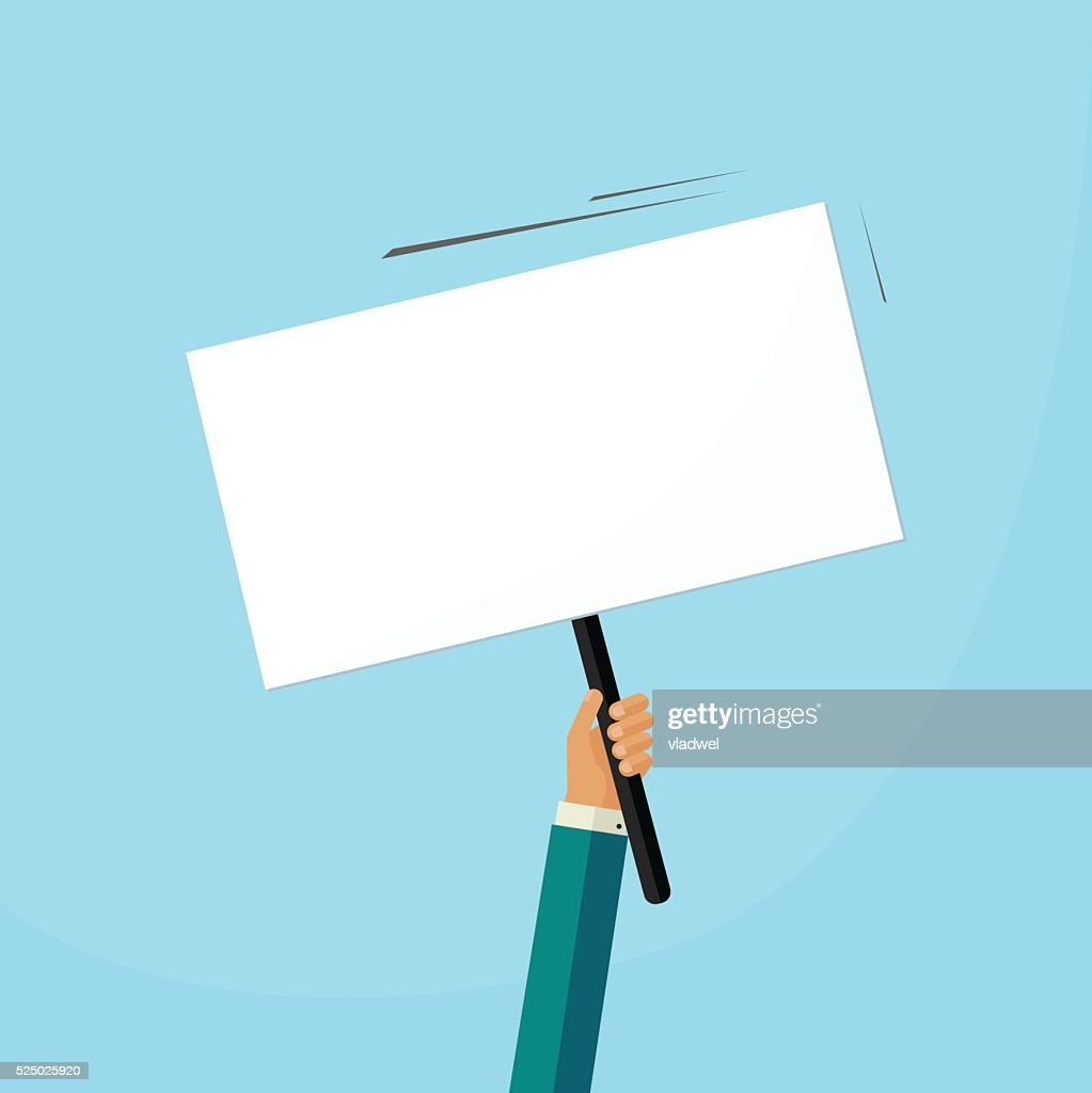 Hand holding placard with empty space for text,  swinging board