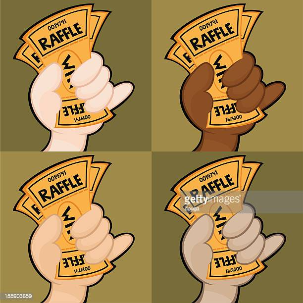 hand holding raffle tickets - raffle stock illustrations