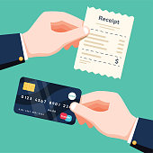 Hand holding receipt and hand holding credit card. Cashless payment concept. Flat design vector isolated illustration