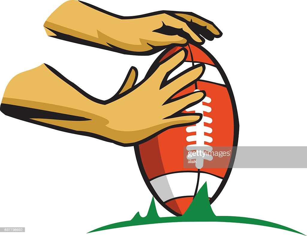 Hand Holding Rugby Ball