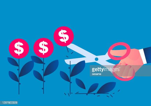 hand holding scissors cuts the cultivated money seedlings, conceptual illustration of economic recession, reduction of global trade orders - scissors stock illustrations