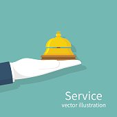 Hand holding service bell