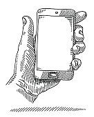Hand Holding Smart Phone Empty Screen Drawing