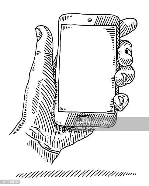 hand holding smart phone empty screen drawing - holding stock illustrations, clip art, cartoons, & icons
