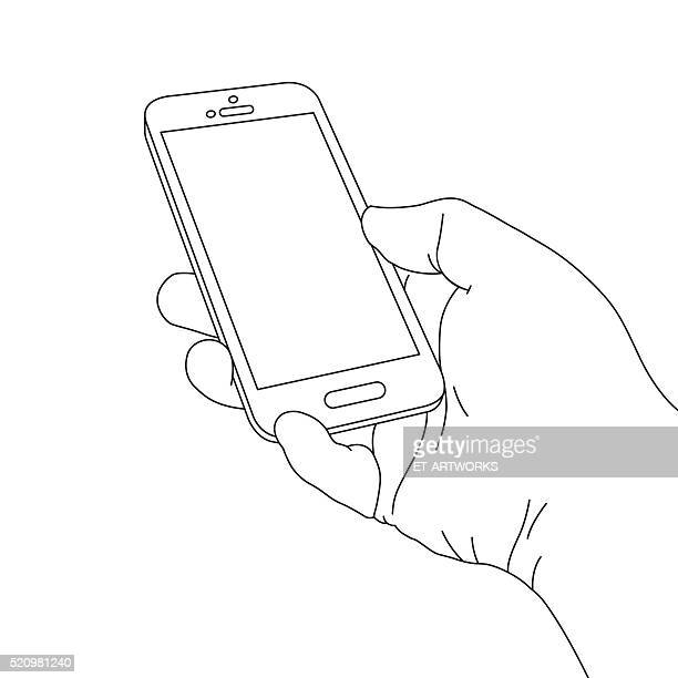 hand holding smart phone - smart phone stock illustrations