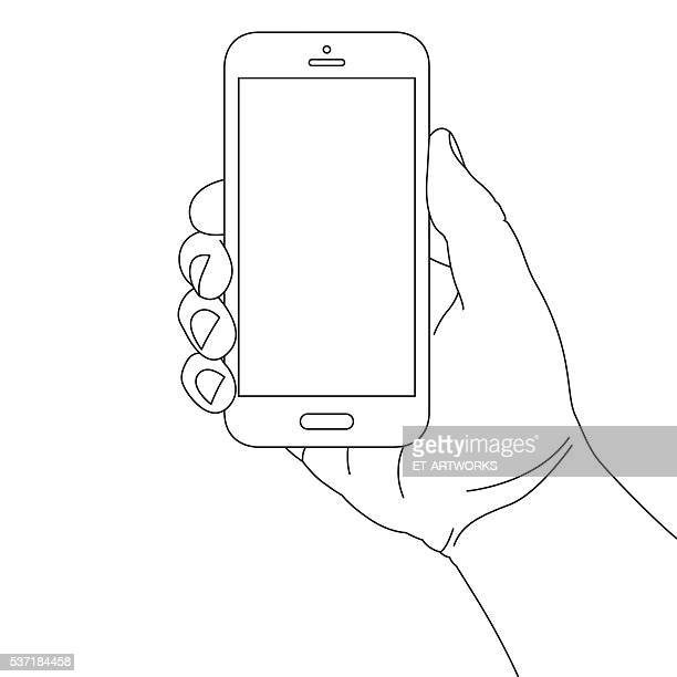hand holding smart phone - holding stock illustrations, clip art, cartoons, & icons