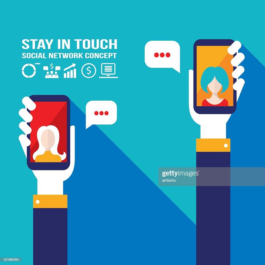 Hand holding smart phone.Communication, social network