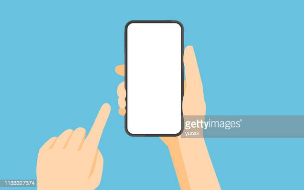 illustrazioni stock, clip art, cartoni animati e icone di tendenza di hand holding smartphone and touching screen - tenere