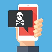 Hand holding smartphone, cellphone with speech bubble and skull and bones on screen. Skull icon. Threats, mobile malware, spam messages, fraud, sms spam concepts. Modern flat design vector illustration