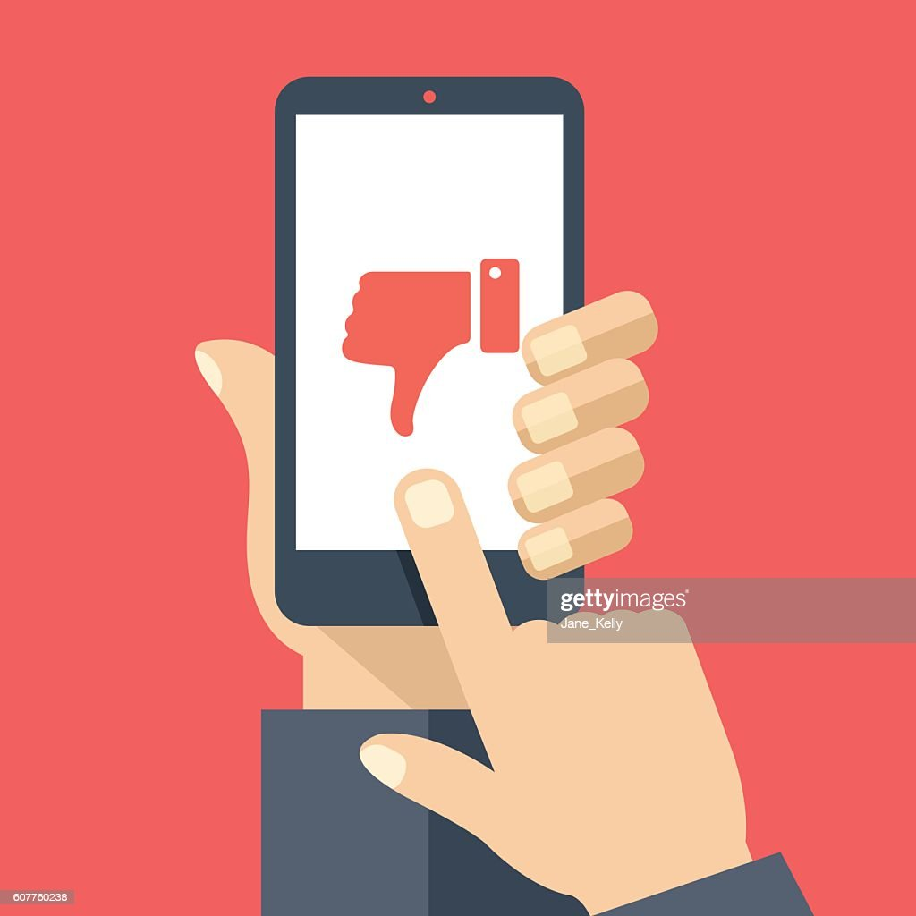 Hand holding smartphone, dislike on screen. Flat design vector illustration