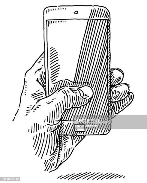 hand holding smartphone drawing - pen and ink stock illustrations