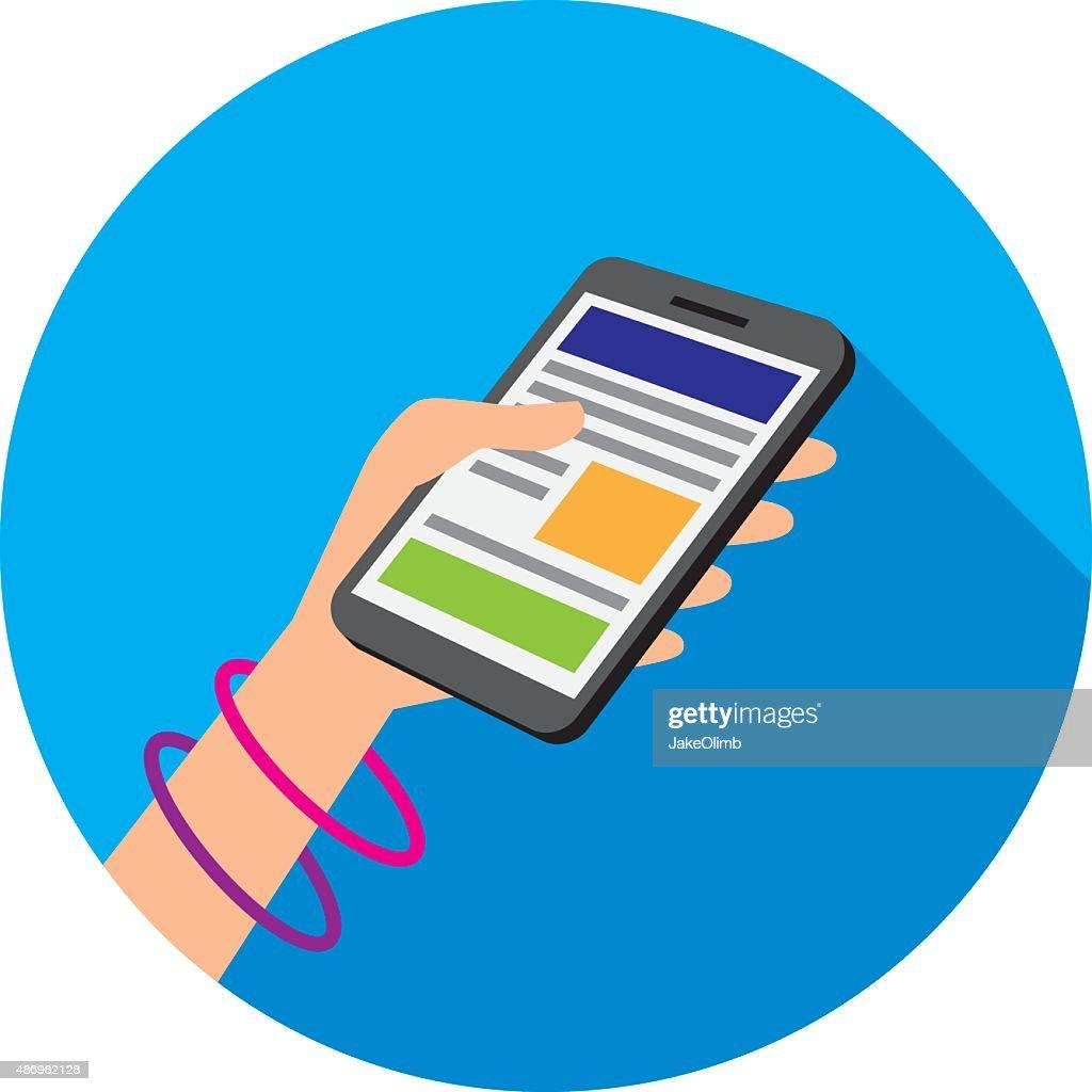 Hand Holding Smartphone Icon Flat : stock illustration
