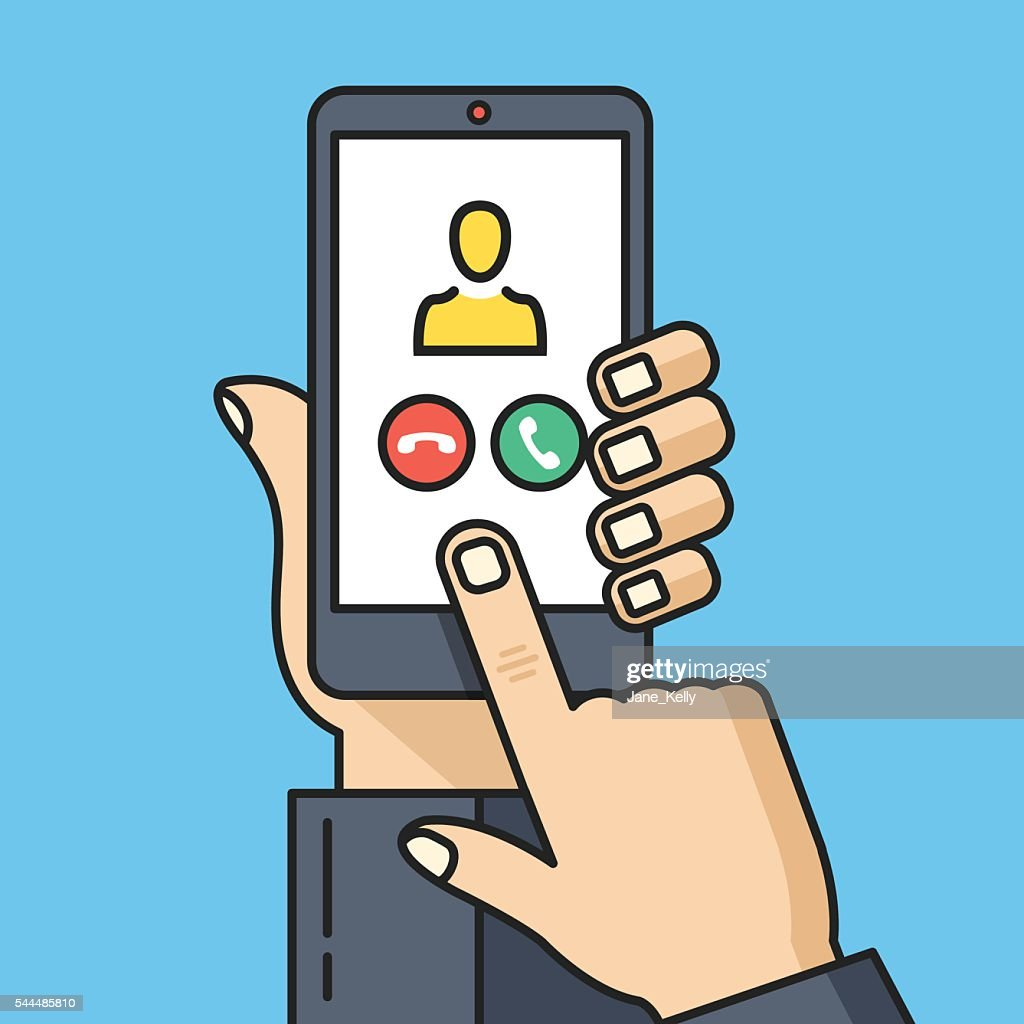 Hand holding smartphone, incoming call screen. Thin line vector illustration