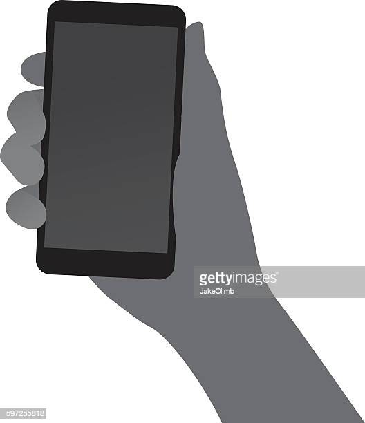 hand holding smartphone silhouette - holding stock illustrations