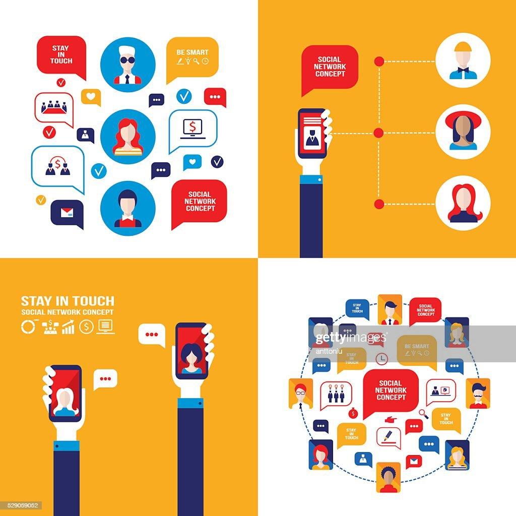 Hand holding smartphone Social Network Technology Communication concept Banner set