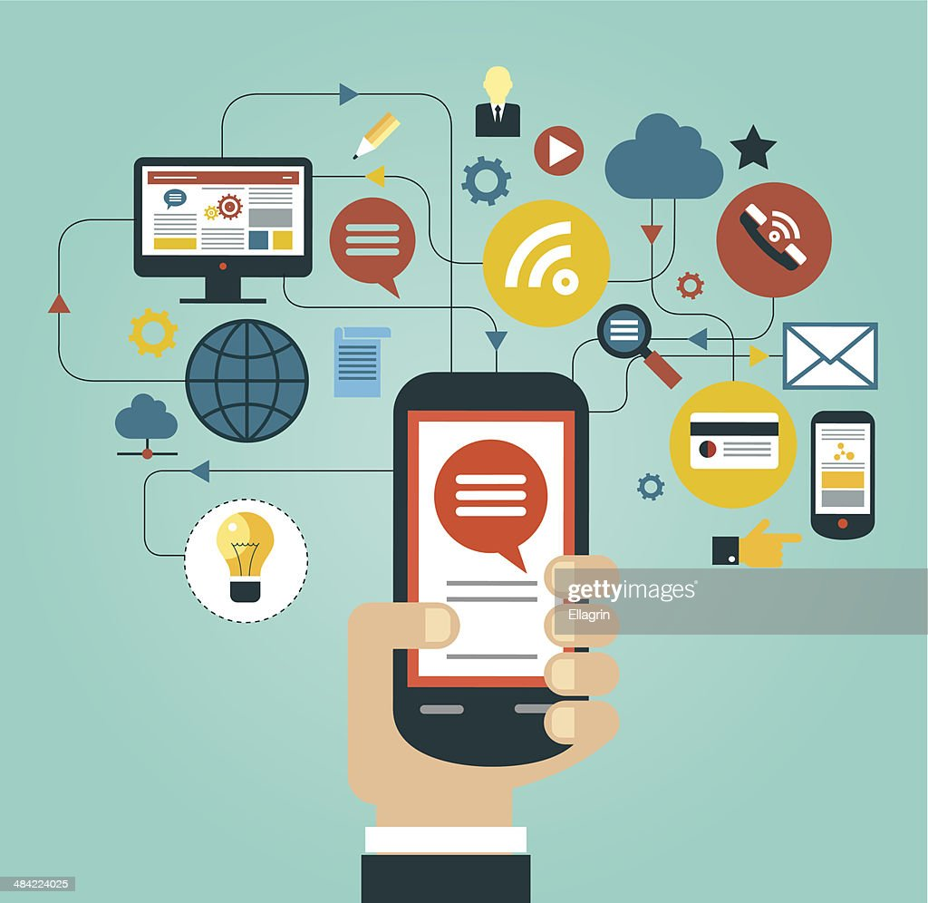 Hand holding smartphone surrounded by icons vector