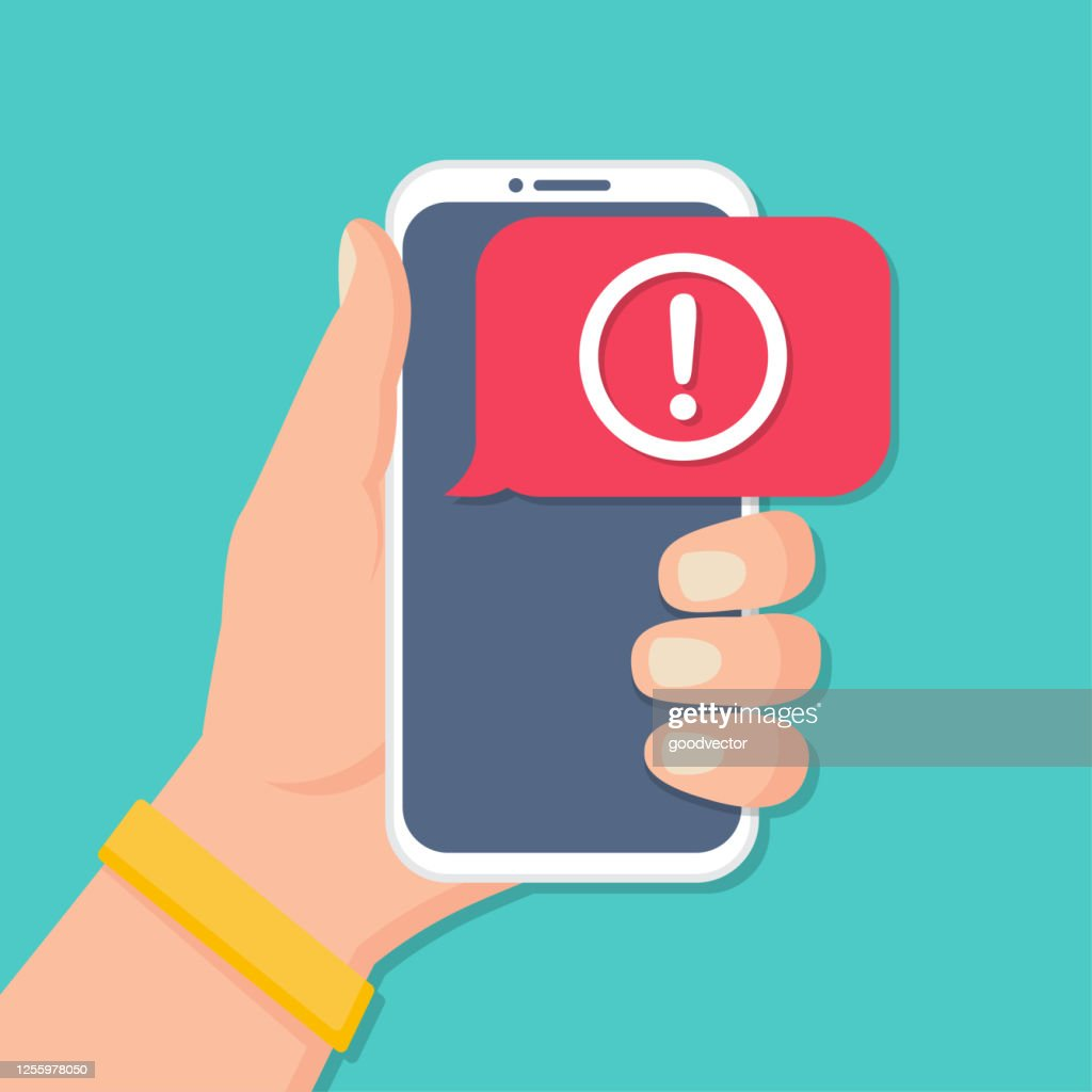 Hand holding smartphone with alert message notification in a flat design : stock illustration