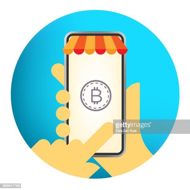 bitcoin 概念とスマート フォンを持っている手 - カイロプラクター点のイラスト素材/クリップアート素材/マンガ素材/アイコン素材