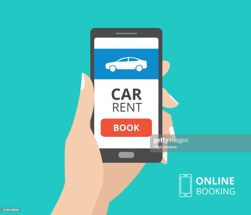 Hand Holding Smartphone With Book Button And Car Icon On Screen