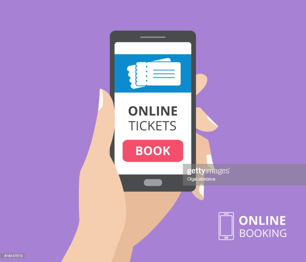 Hand holding smartphone with book button on screen. Concept of online tickets mobile application