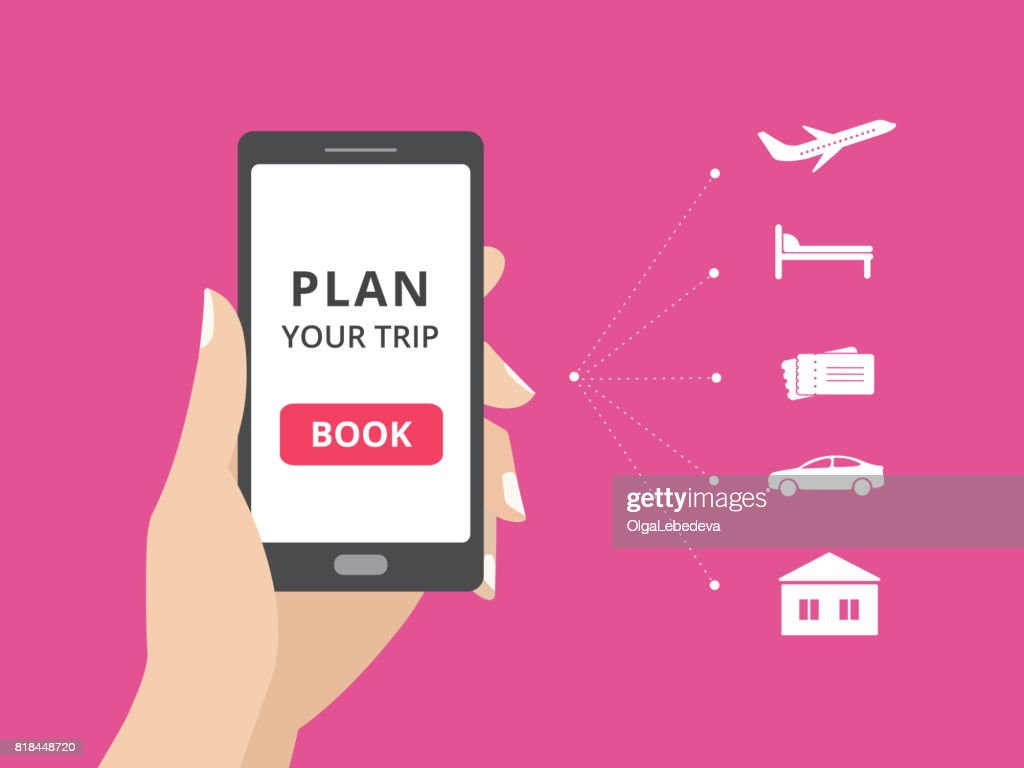 Hand holding smartphone with book button on screen. Online booking design elements, hotel, flight, car, tickets